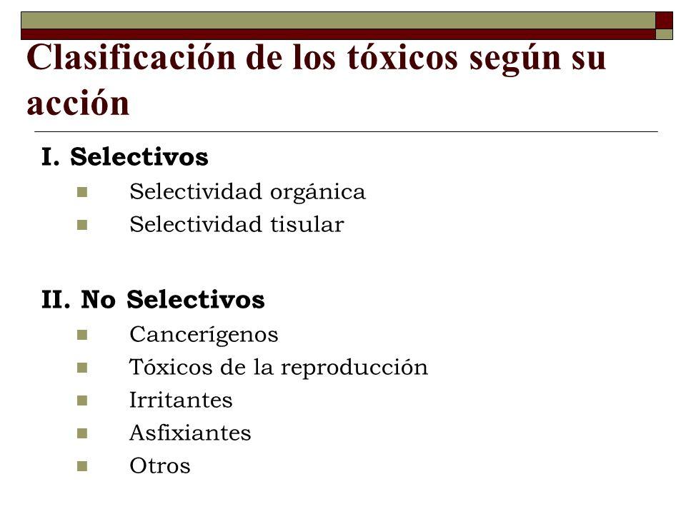 Clasificación de los tóxicos según su acción