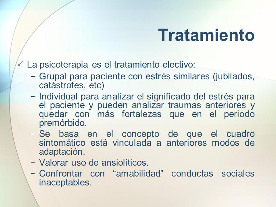 Tratamiento La psicoterapia es el tratamiento electivo: