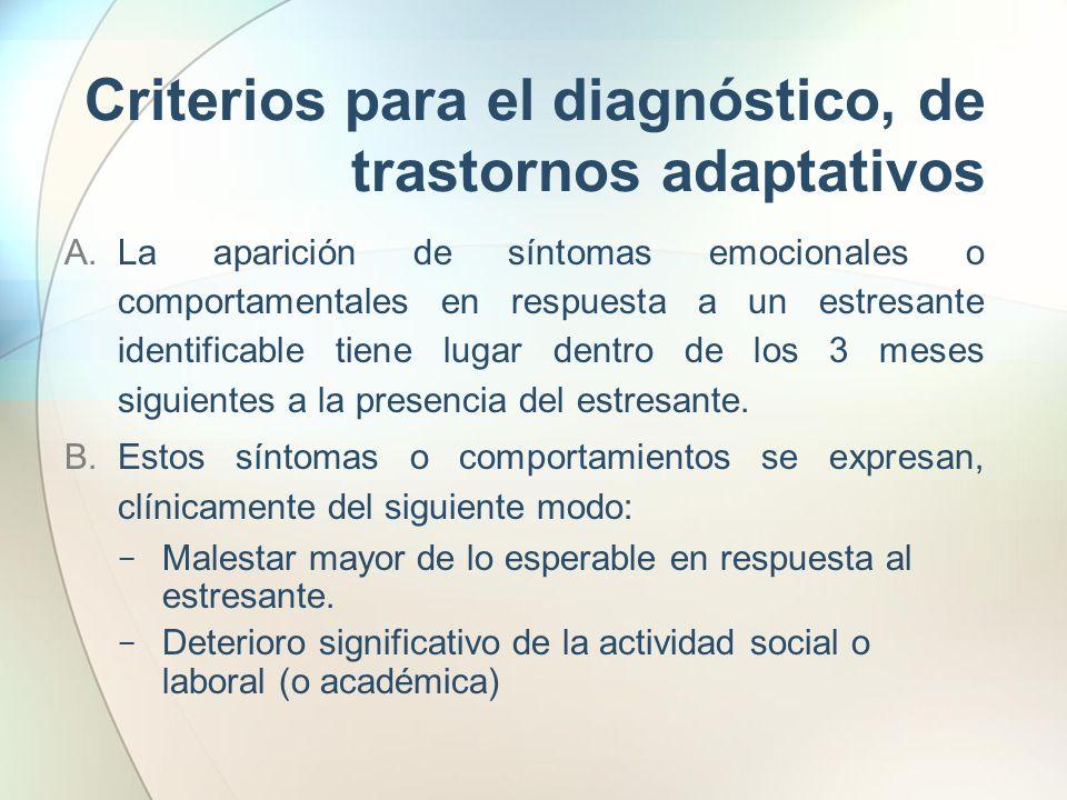 Criterios para el diagnóstico, de trastornos adaptativos