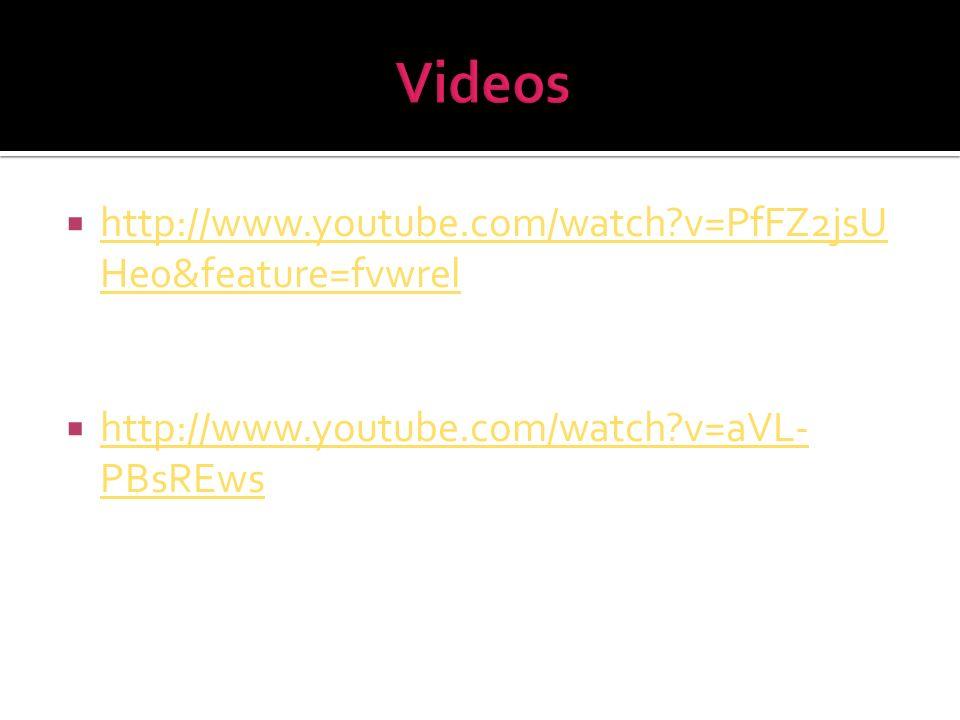 Videos http://www.youtube.com/watch v=PfFZ2jsUHe0&feature=fvwrel