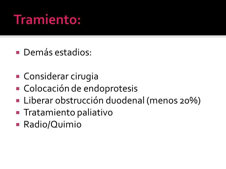 Tramiento: Demás estadios: Considerar cirugia