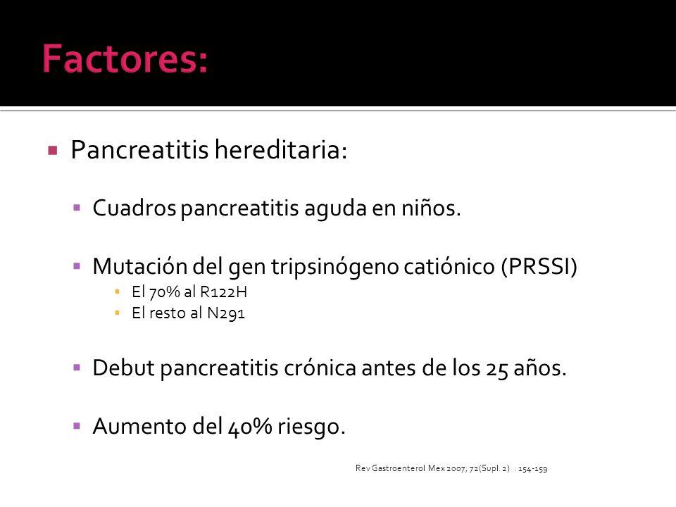 Factores: Pancreatitis hereditaria: