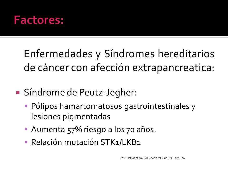 Factores:Enfermedades y Síndromes hereditarios de cáncer con afección extrapancreatica: Síndrome de Peutz-Jegher: