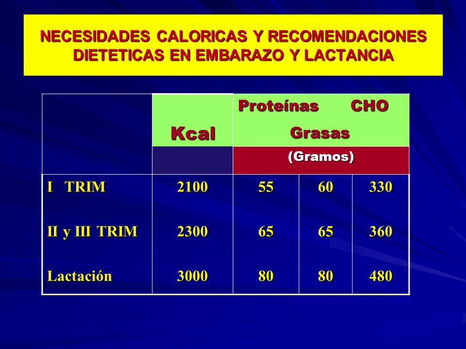 NECESIDADES CALORICAS Y RECOMENDACIONES DIETETICAS EN EMBARAZO Y LACTANCIA
