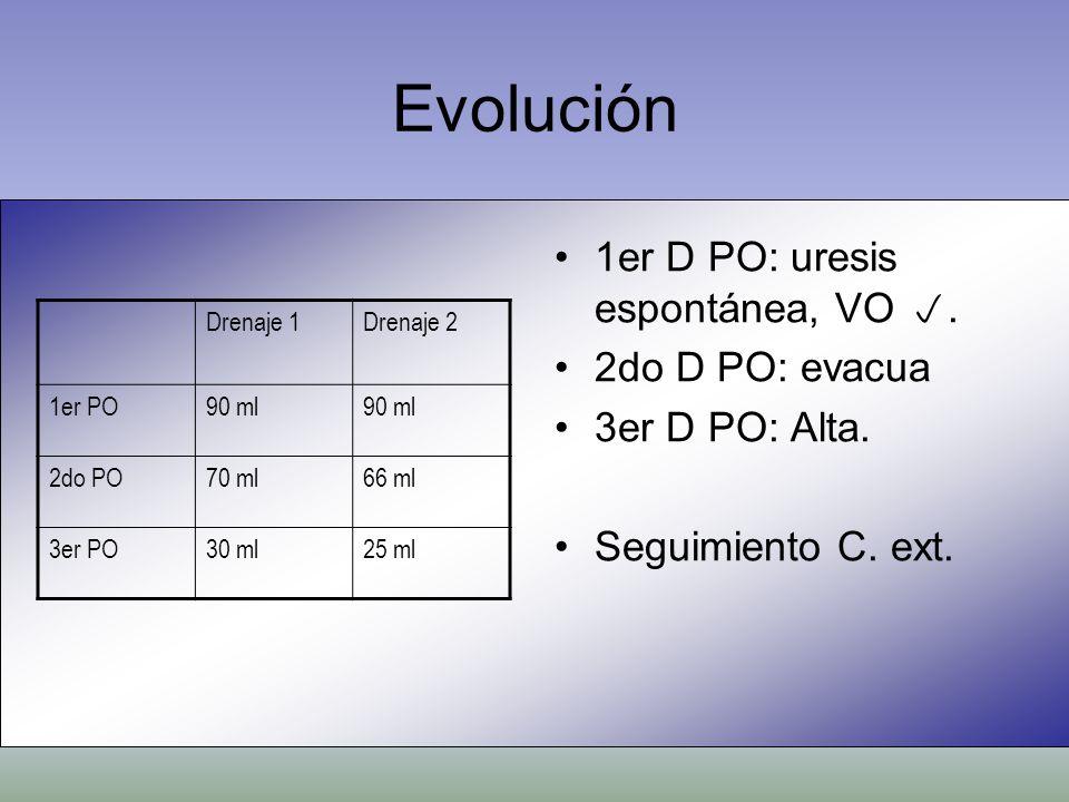 Evolución 1er D PO: uresis espontánea, VO . 2do D PO: evacua
