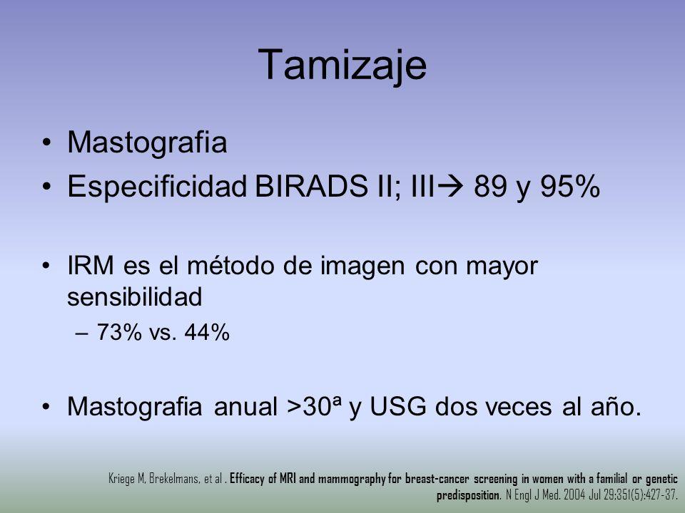 Tamizaje Mastografia Especificidad BIRADS II; III 89 y 95%