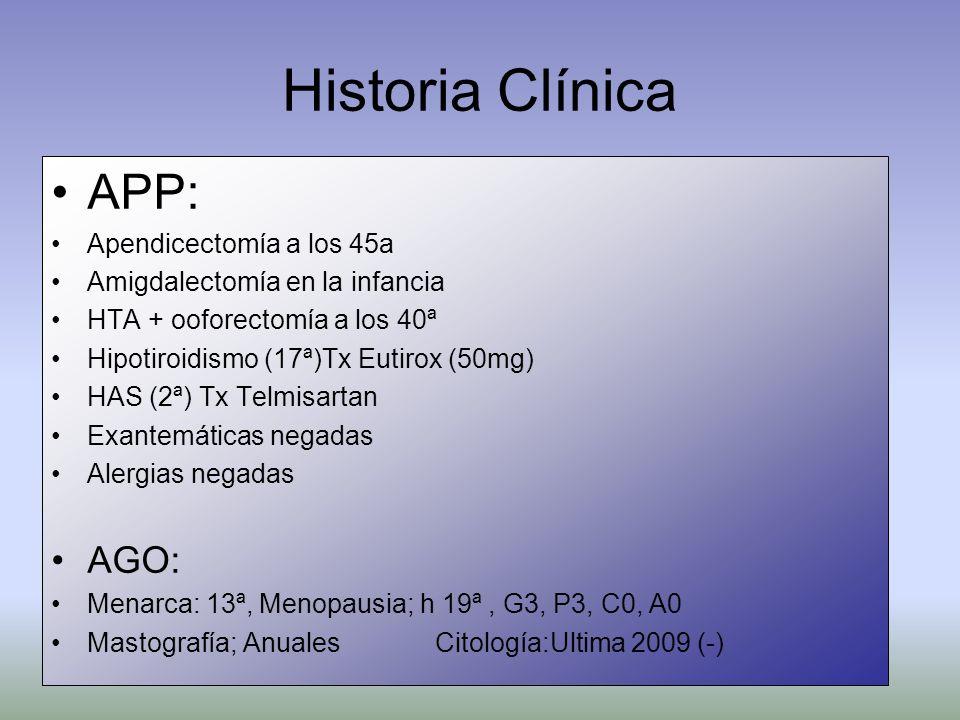 Historia Clínica APP: AGO: Apendicectomía a los 45a