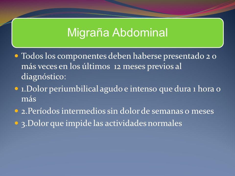 Migraña Abdominal Todos los componentes deben haberse presentado 2 o más veces en los últimos 12 meses previos al diagnóstico:
