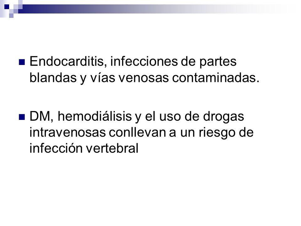 Endocarditis, infecciones de partes blandas y vías venosas contaminadas.