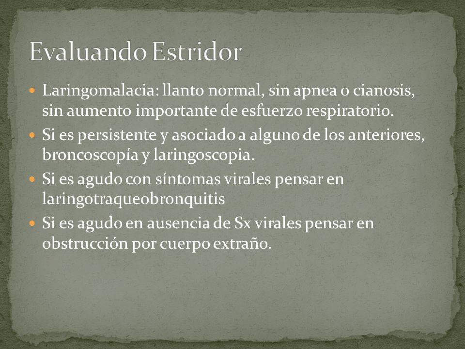 Evaluando EstridorLaringomalacia: llanto normal, sin apnea o cianosis, sin aumento importante de esfuerzo respiratorio.