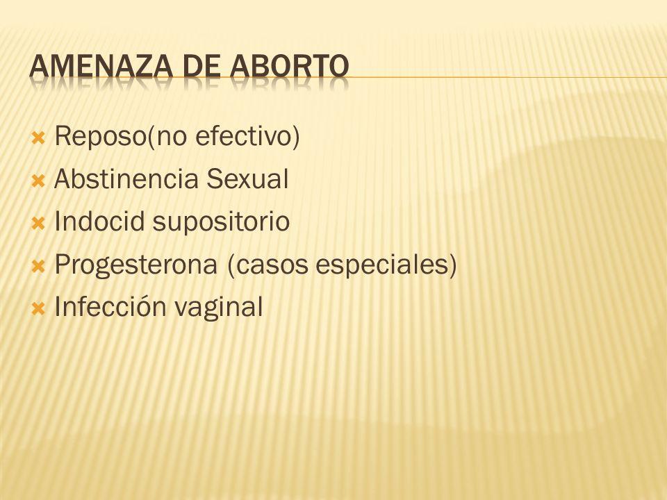 Amenaza de aborto Reposo(no efectivo) Abstinencia Sexual