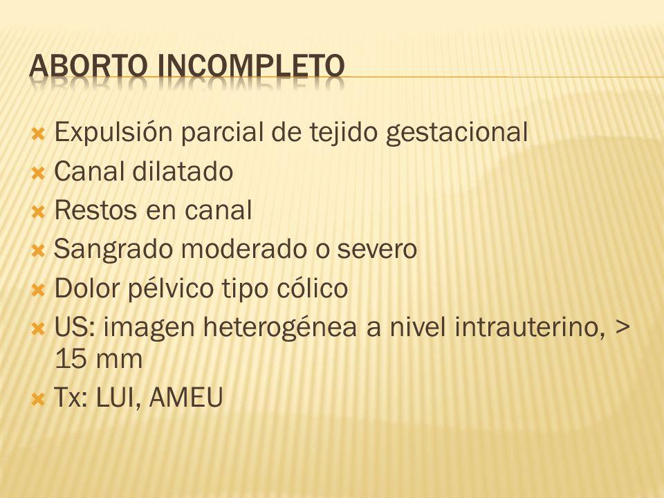 Aborto incompleto Expulsión parcial de tejido gestacional