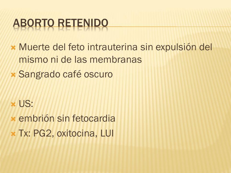 Aborto retenidoMuerte del feto intrauterina sin expulsión del mismo ni de las membranas. Sangrado café oscuro.