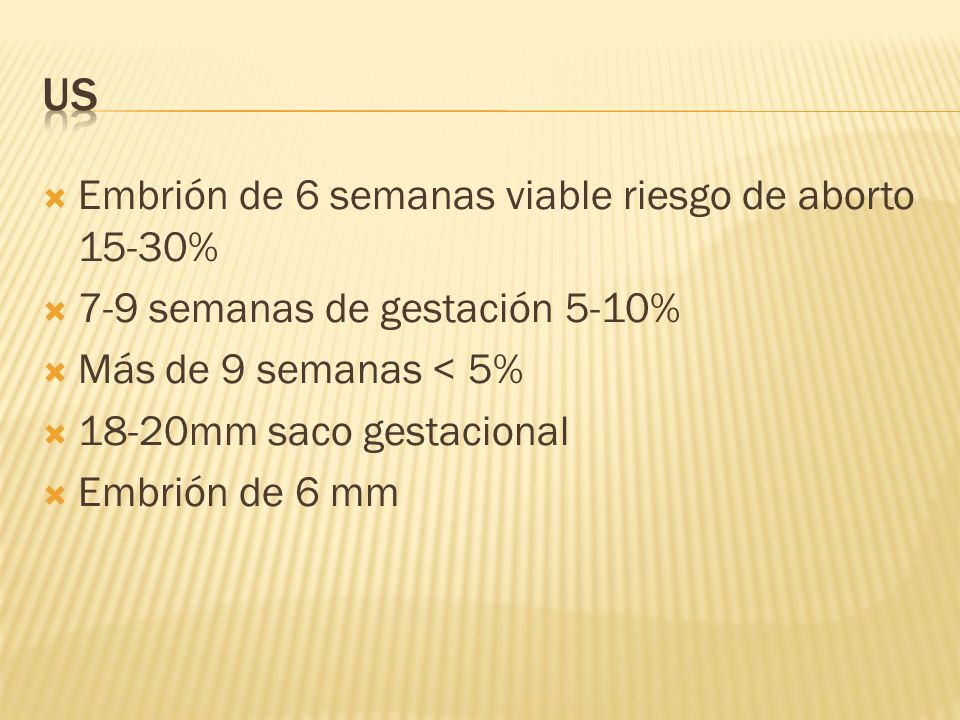 US Embrión de 6 semanas viable riesgo de aborto 15-30%