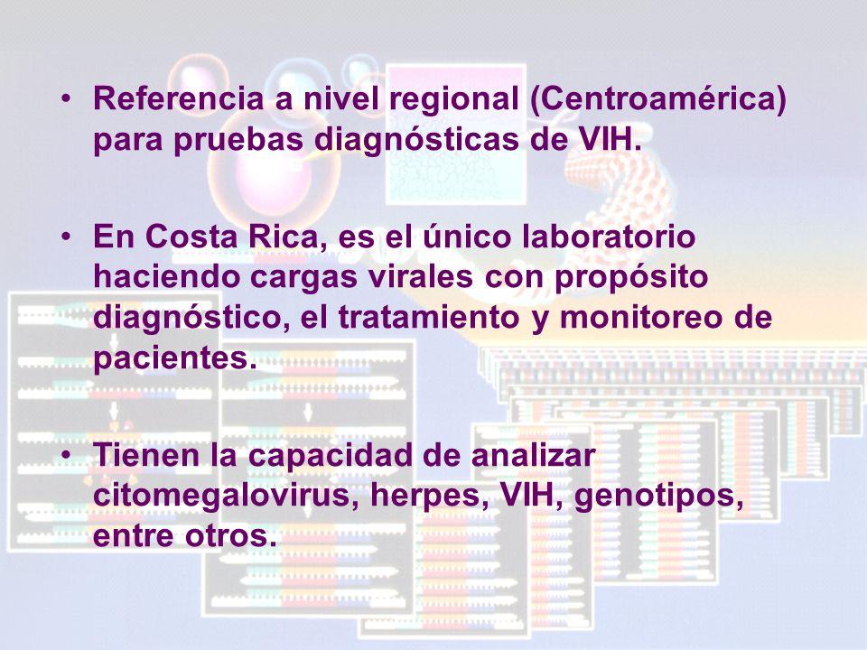Referencia a nivel regional (Centroamérica) para pruebas diagnósticas de VIH.