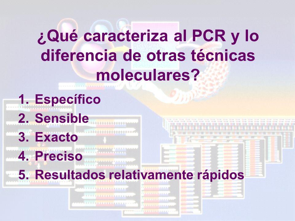 ¿Qué caracteriza al PCR y lo diferencia de otras técnicas moleculares