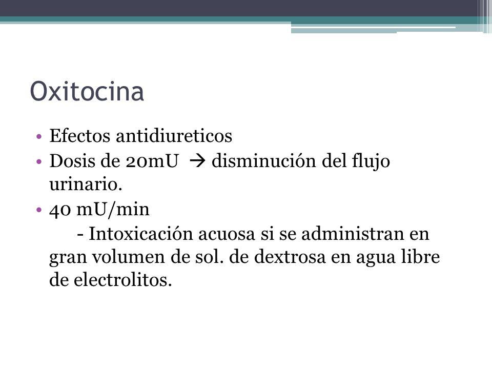 Oxitocina Efectos antidiureticos