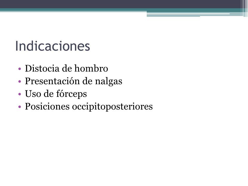 Indicaciones Distocia de hombro Presentación de nalgas Uso de fórceps