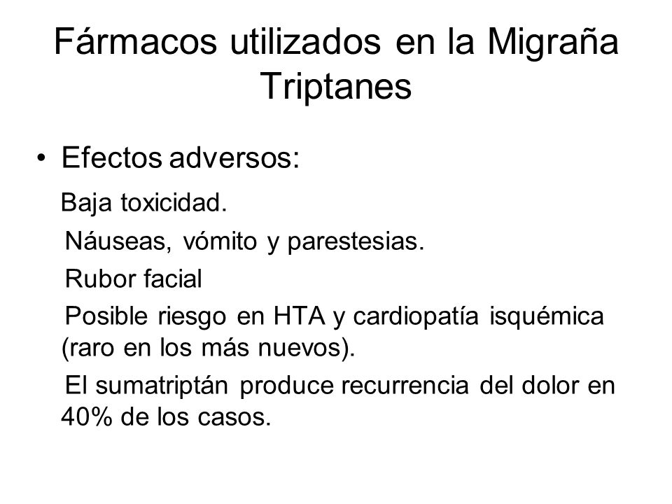 Fármacos utilizados en la Migraña Triptanes