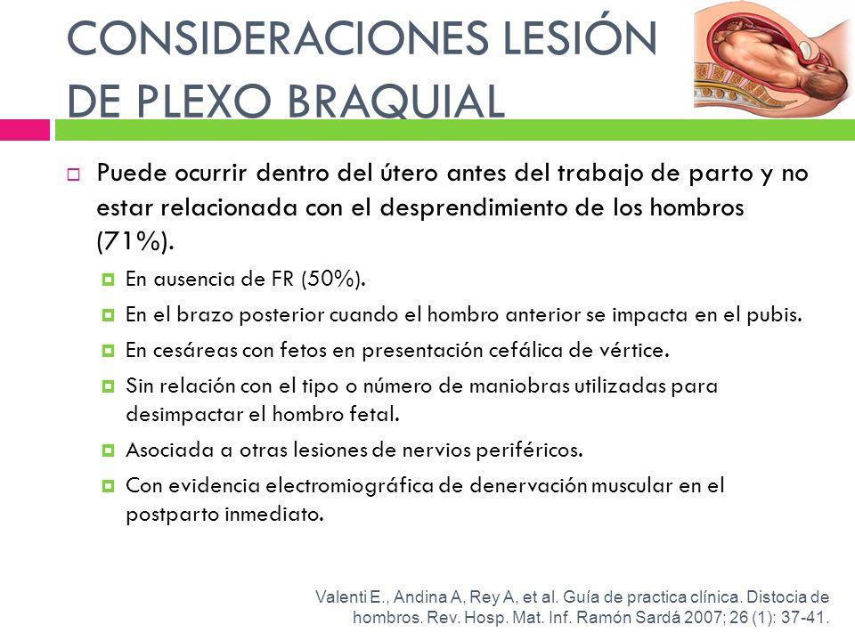 CONSIDERACIONES LESIÓN DE PLEXO BRAQUIAL