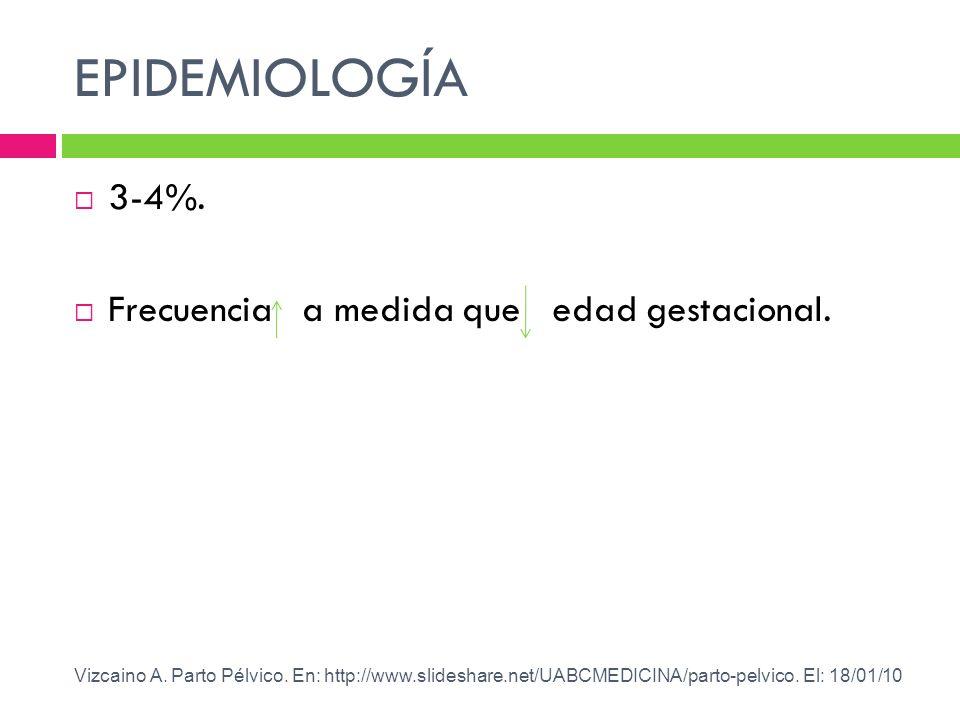 EPIDEMIOLOGÍA 3-4%. Frecuencia a medida que edad gestacional.