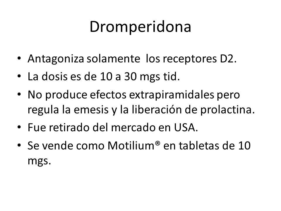 Dromperidona Antagoniza solamente los receptores D2.