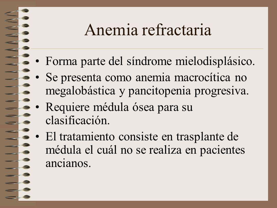 Anemia refractaria Forma parte del síndrome mielodisplásico.