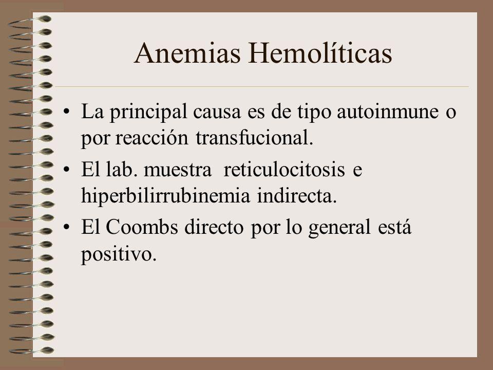 Anemias Hemolíticas La principal causa es de tipo autoinmune o por reacción transfucional.