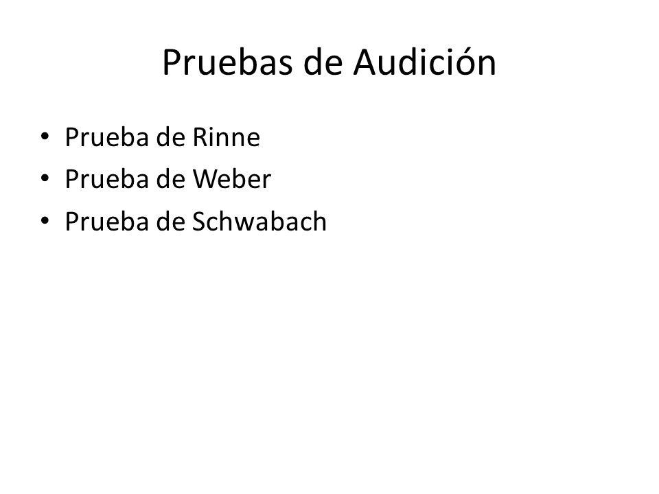 Pruebas de Audición Prueba de Rinne Prueba de Weber