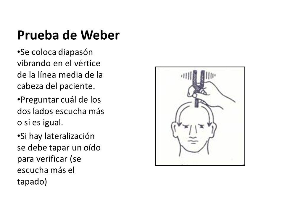 Prueba de Weber Se coloca diapasón vibrando en el vértice de la línea media de la cabeza del paciente.