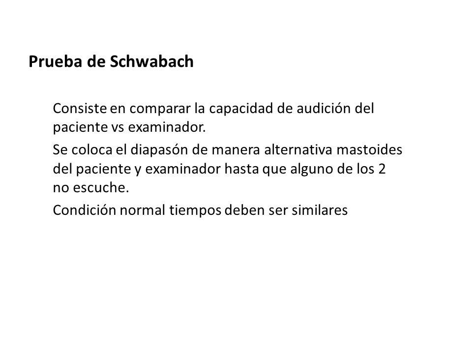 Prueba de Schwabach Consiste en comparar la capacidad de audición del paciente vs examinador.