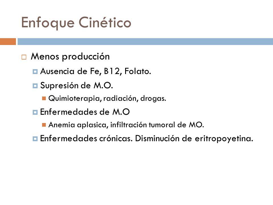 Enfoque Cinético Menos producción Ausencia de Fe, B12, Folato.