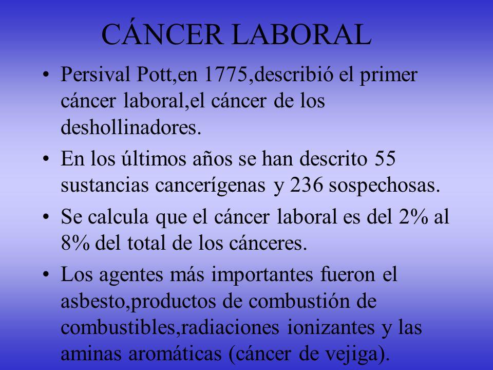 CÁNCER LABORAL Persival Pott,en 1775,describió el primer cáncer laboral,el cáncer de los deshollinadores.