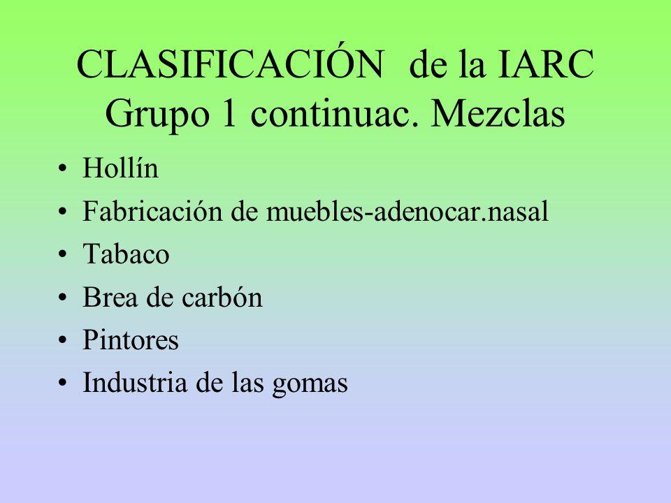 CLASIFICACIÓN de la IARC Grupo 1 continuac. Mezclas