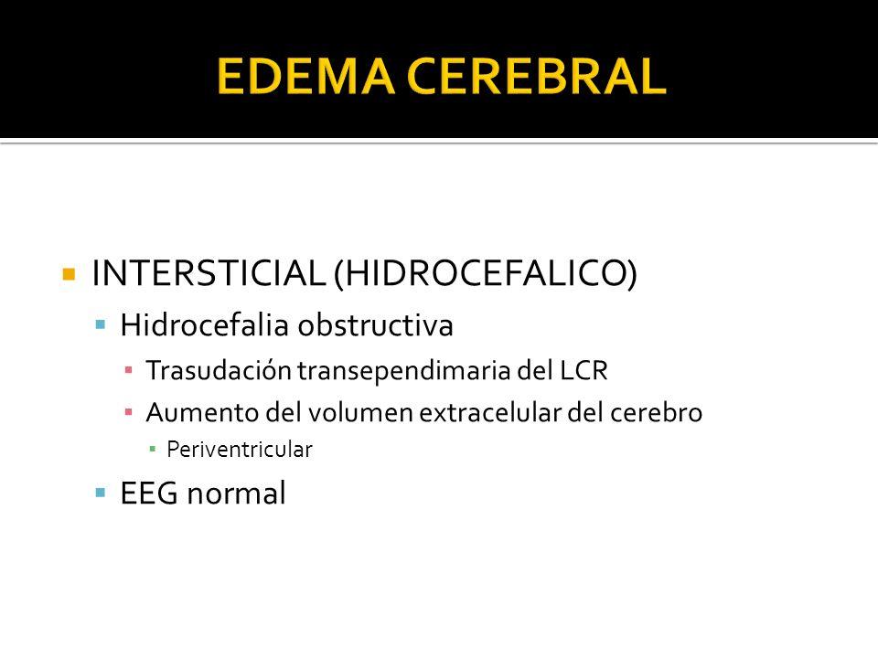 EDEMA CEREBRAL INTERSTICIAL (HIDROCEFALICO) Hidrocefalia obstructiva
