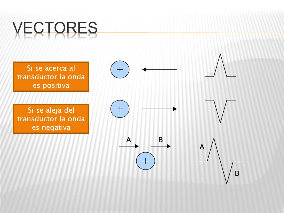 Vectores Si se acerca al transductor la onda es positiva
