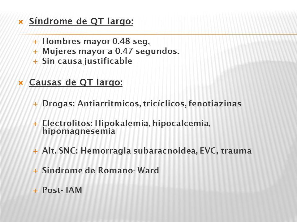 Síndrome de QT largo: Causas de QT largo: Hombres mayor 0.48 seg,