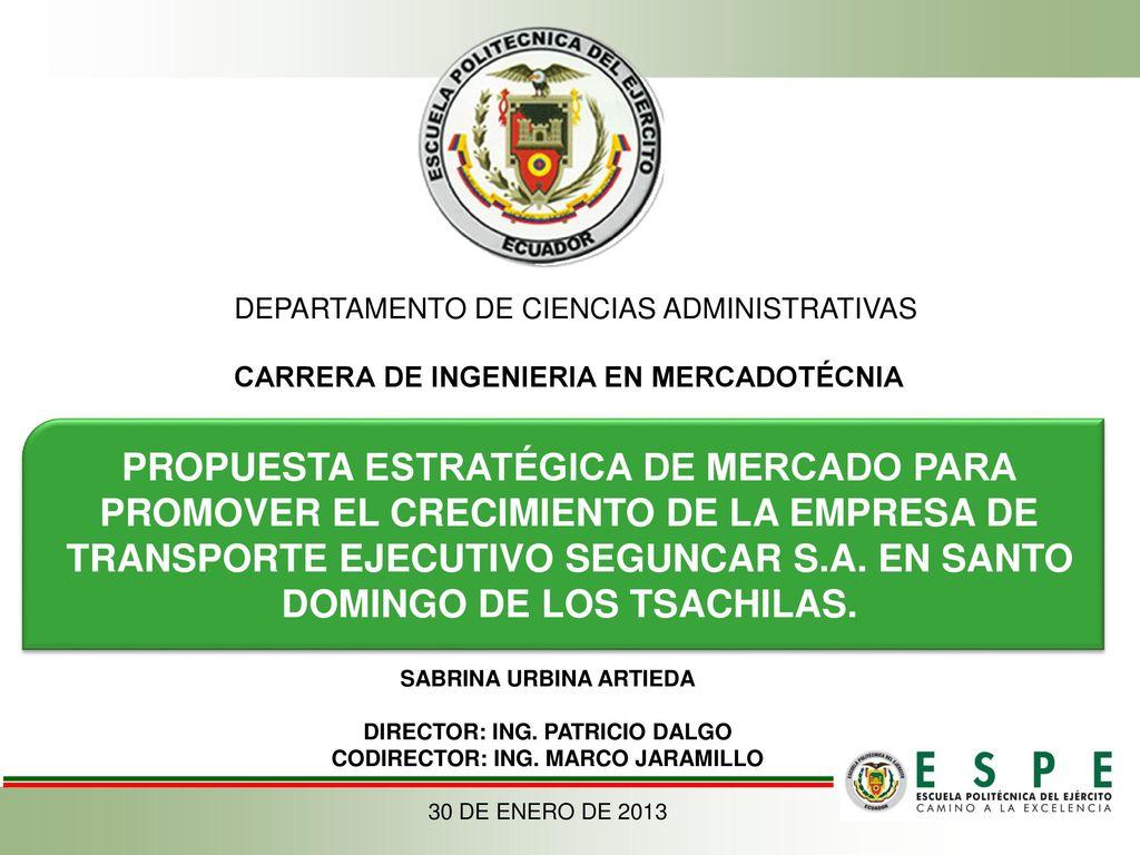 DEPARTAMENTO DE CIENCIAS ADMINISTRATIVAS CARRERA DE INGENIERIA EN ...