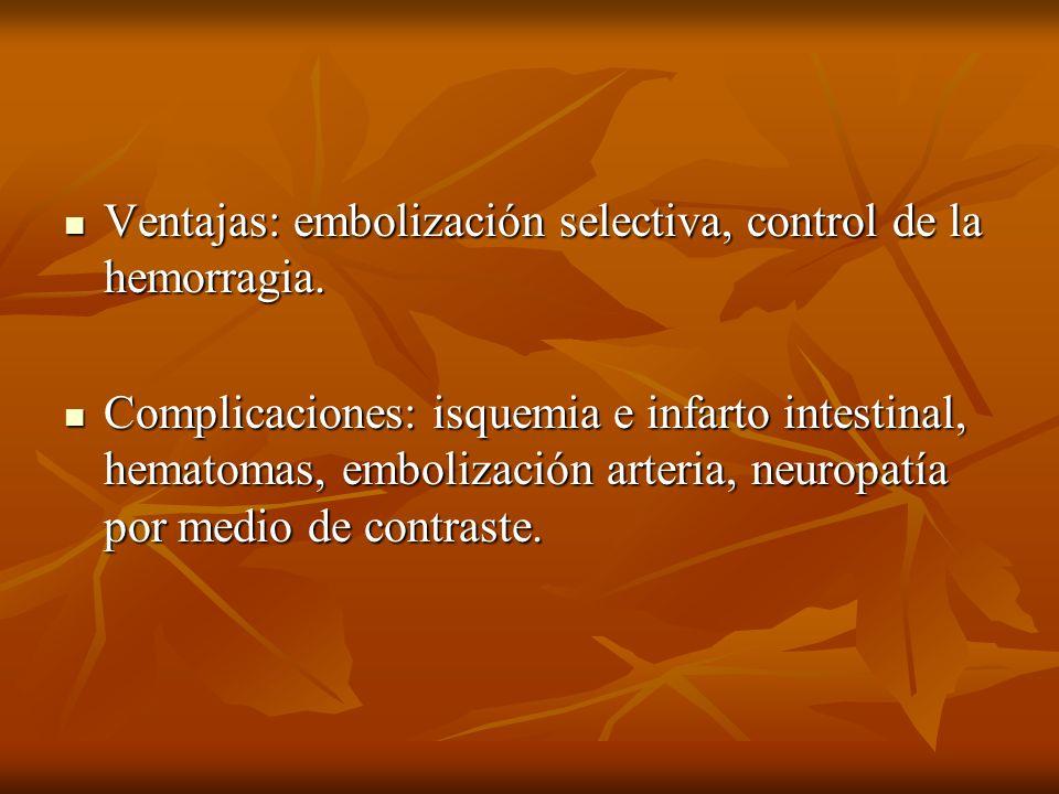 Ventajas: embolización selectiva, control de la hemorragia.