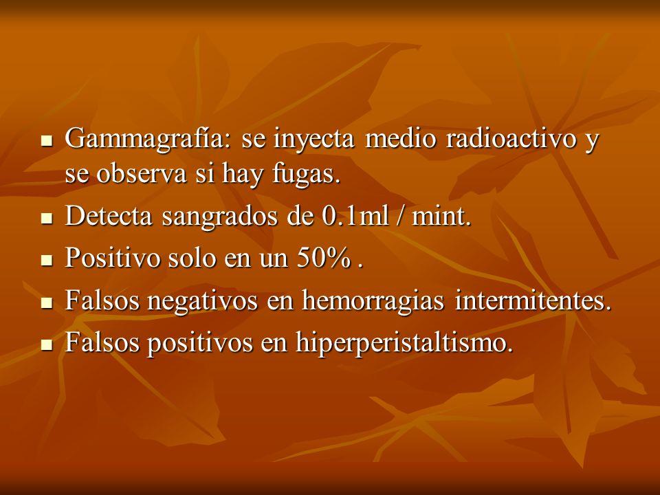 Gammagrafía: se inyecta medio radioactivo y se observa si hay fugas.