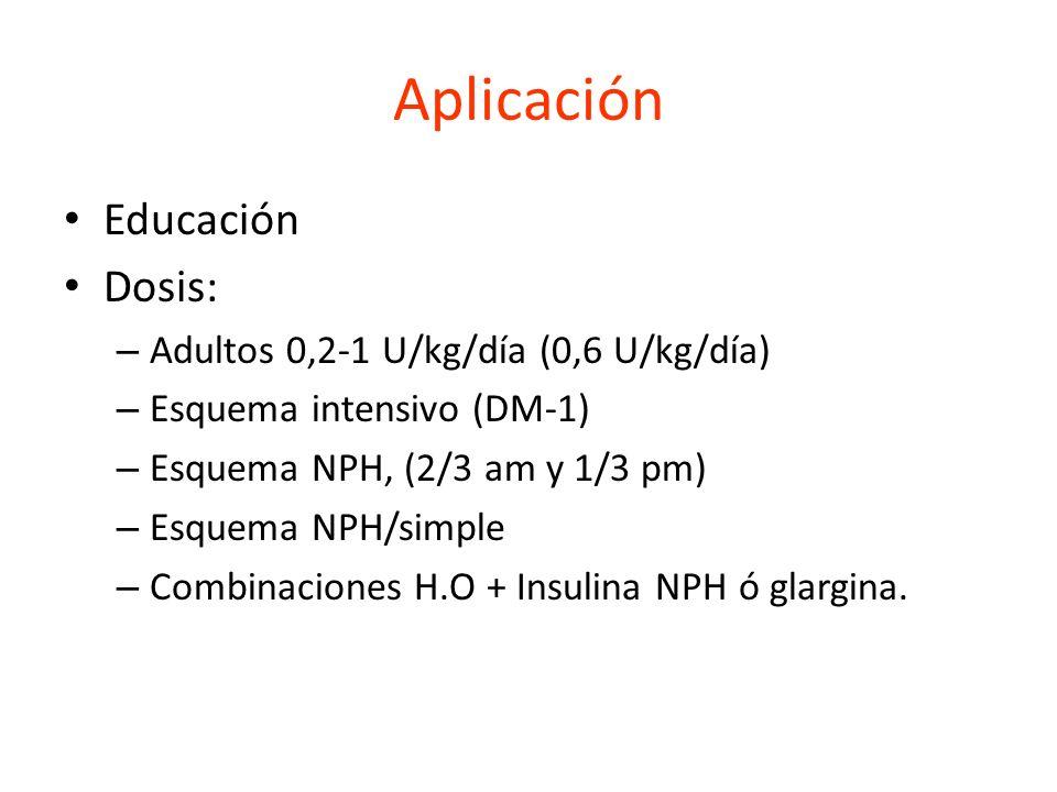 Aplicación Educación Dosis: Adultos 0,2-1 U/kg/día (0,6 U/kg/día)