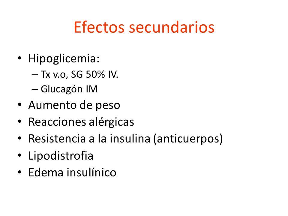Efectos secundarios Hipoglicemia: Aumento de peso Reacciones alérgicas