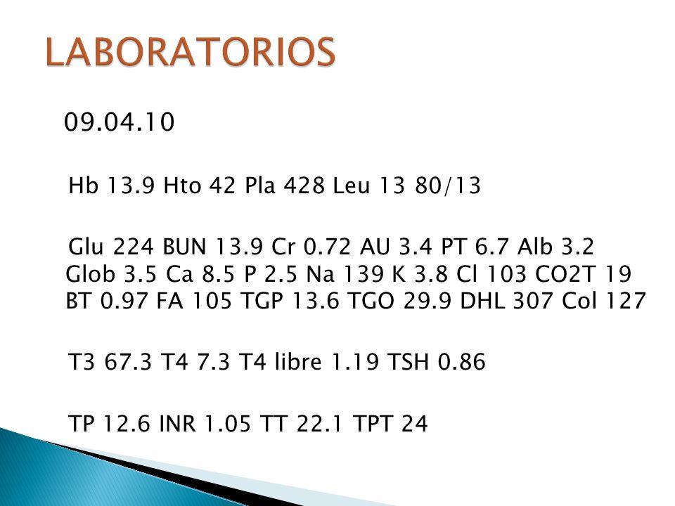 LABORATORIOS 09.04.10 Hb 13.9 Hto 42 Pla 428 Leu 13 80/13