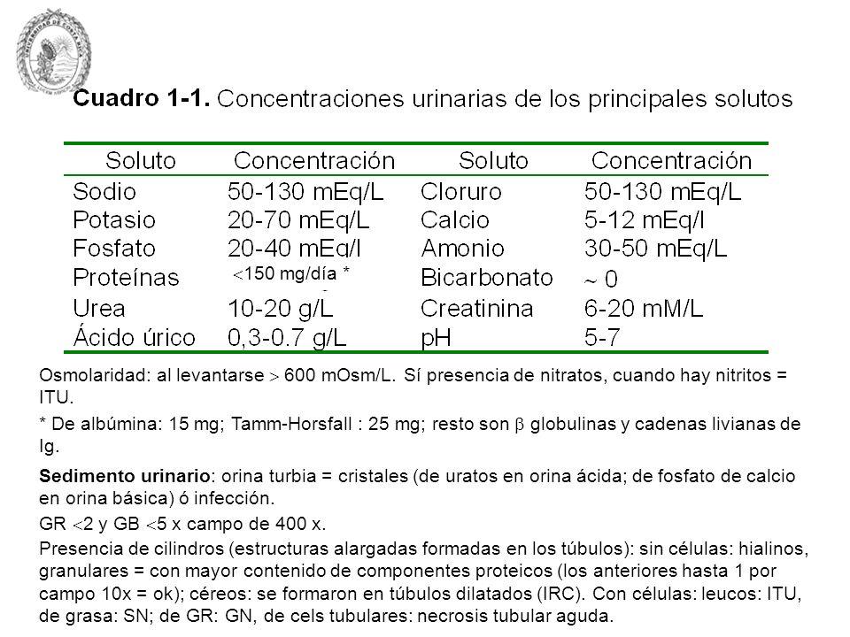 150 mg/día *Osmolaridad: al levantarse  600 mOsm/L. Sí presencia de nitratos, cuando hay nitritos = ITU.