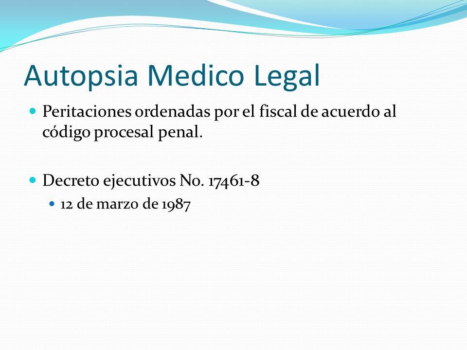 Autopsia Medico Legal Peritaciones ordenadas por el fiscal de acuerdo al código procesal penal. Decreto ejecutivos No. 17461-8.
