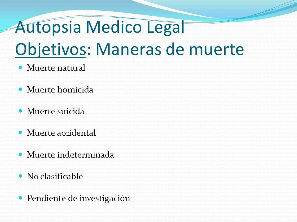 Autopsia Medico Legal Objetivos: Maneras de muerte