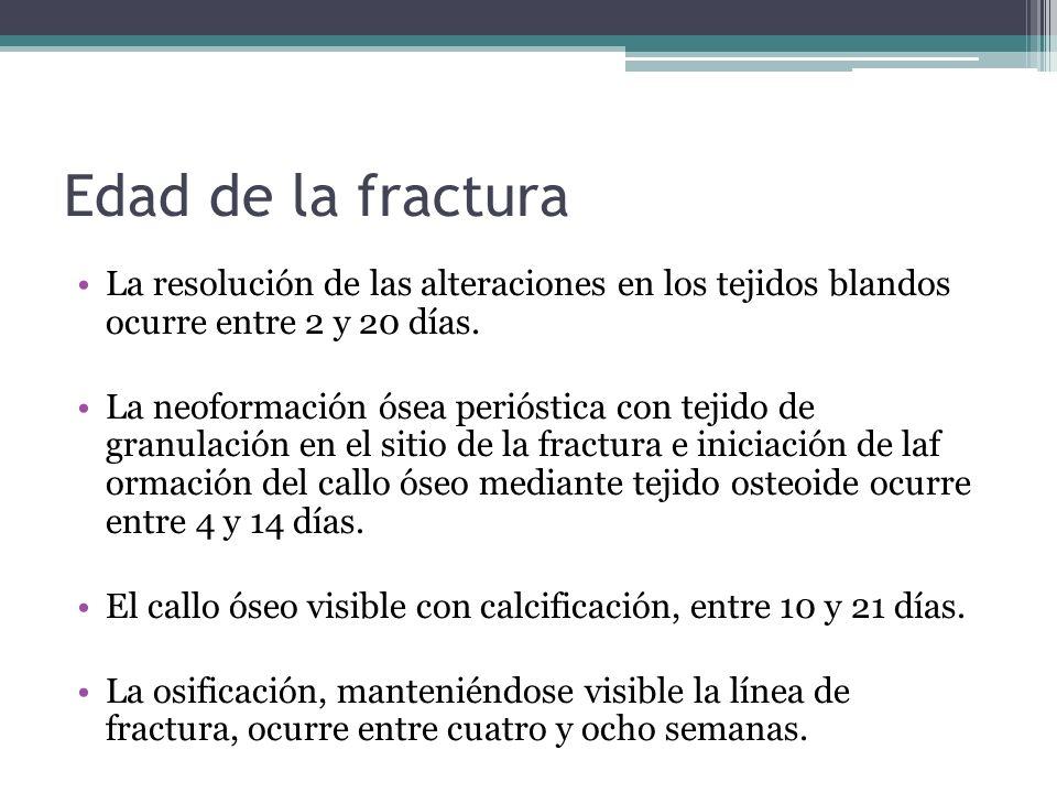Edad de la fracturaLa resolución de las alteraciones en los tejidos blandos ocurre entre 2 y 20 días.