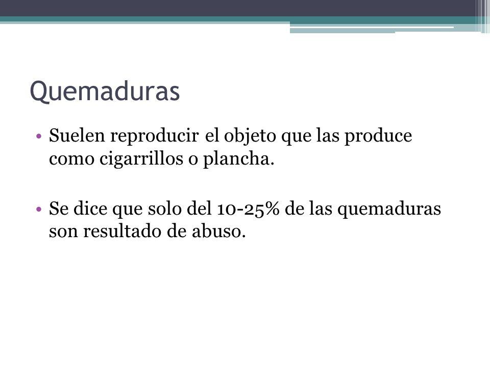 QuemadurasSuelen reproducir el objeto que las produce como cigarrillos o plancha.