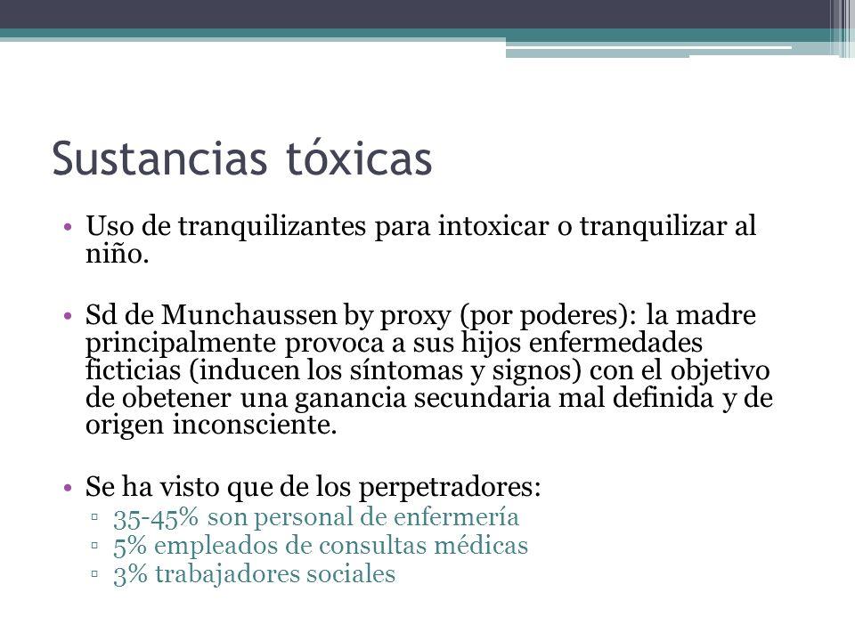 Sustancias tóxicasUso de tranquilizantes para intoxicar o tranquilizar al niño.