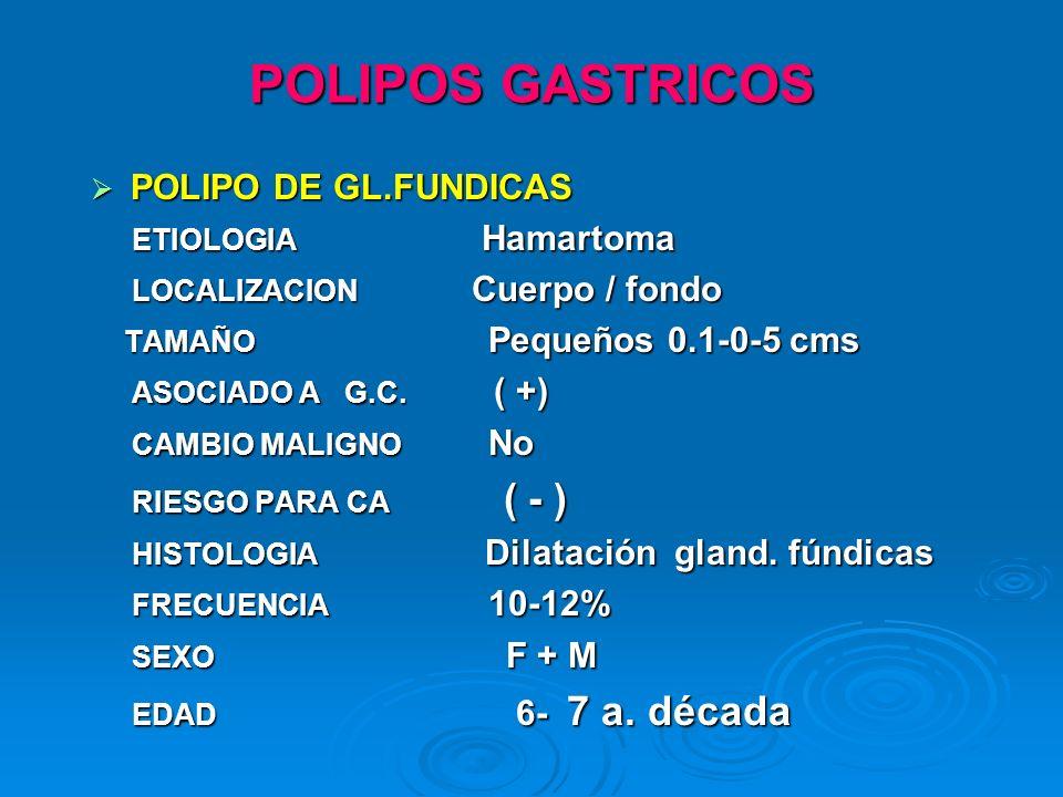POLIPOS GASTRICOS POLIPO DE GL.FUNDICAS ETIOLOGIA Hamartoma